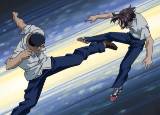 Kenichi take a kick from a Karate Bully